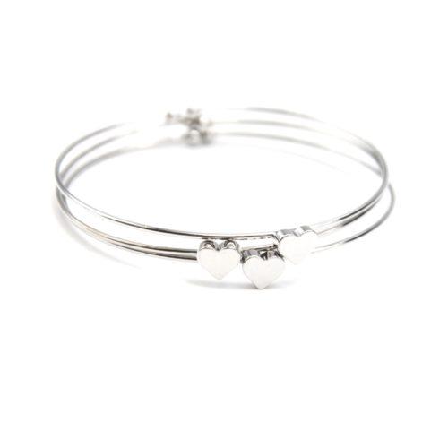 Lot-de-3-Bracelets-Jonc-Ouvert-avec-Charm-Coeur-Metal-Argente