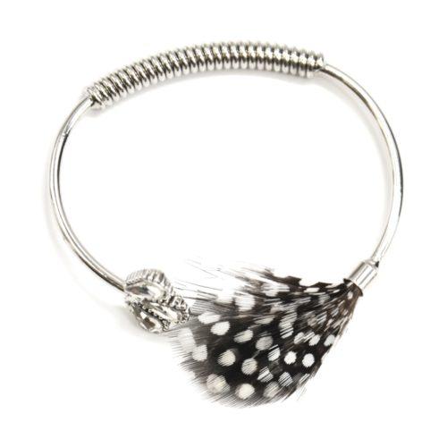Bracelet-Jonc-Ouvert-avec-Pierres-Plumes-Paon-Noir-et-Ressort-Metal-Argente