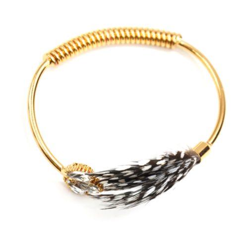 Bracelet-Jonc-Ouvert-avec-Pierres-Plumes-Paon-Noir-et-Ressort-Metal-Dore