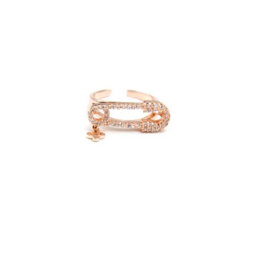 Bague-Phalange-Ouverte-Epingle-Metal-Or-Rose-et-Contour-Pierres-Zirconium-avec-Mini-Trefle