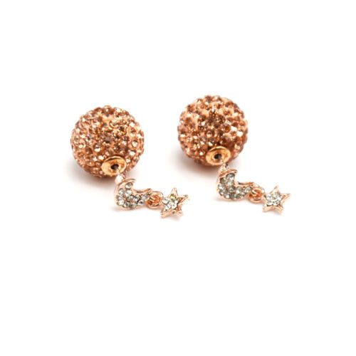 Boucles-dOreilles-Double-Lune-Etoile-Metal-Or-Rose-et-Boule-Strass-Beige-Rose