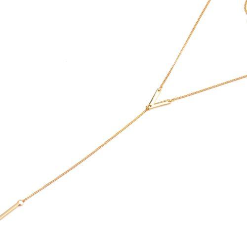 Collier-Double-Chaine-Pendentifs-Boule-et-Chevron-avec-Barre-Pendante-Metal-Dore