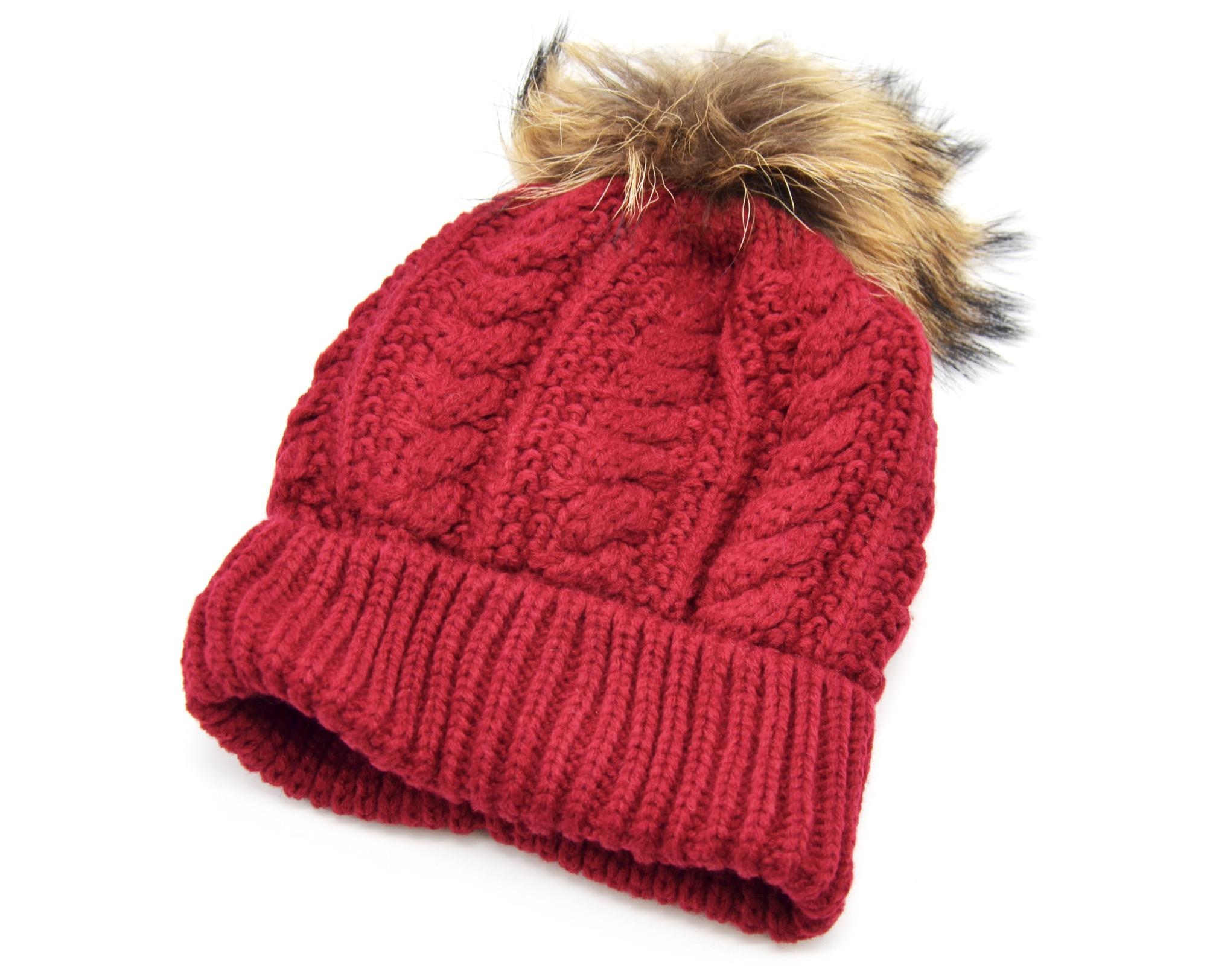 pbn03 bonnet hiver maille effet crois avec revers int rieur polaire et pompon fourrure beige. Black Bedroom Furniture Sets. Home Design Ideas