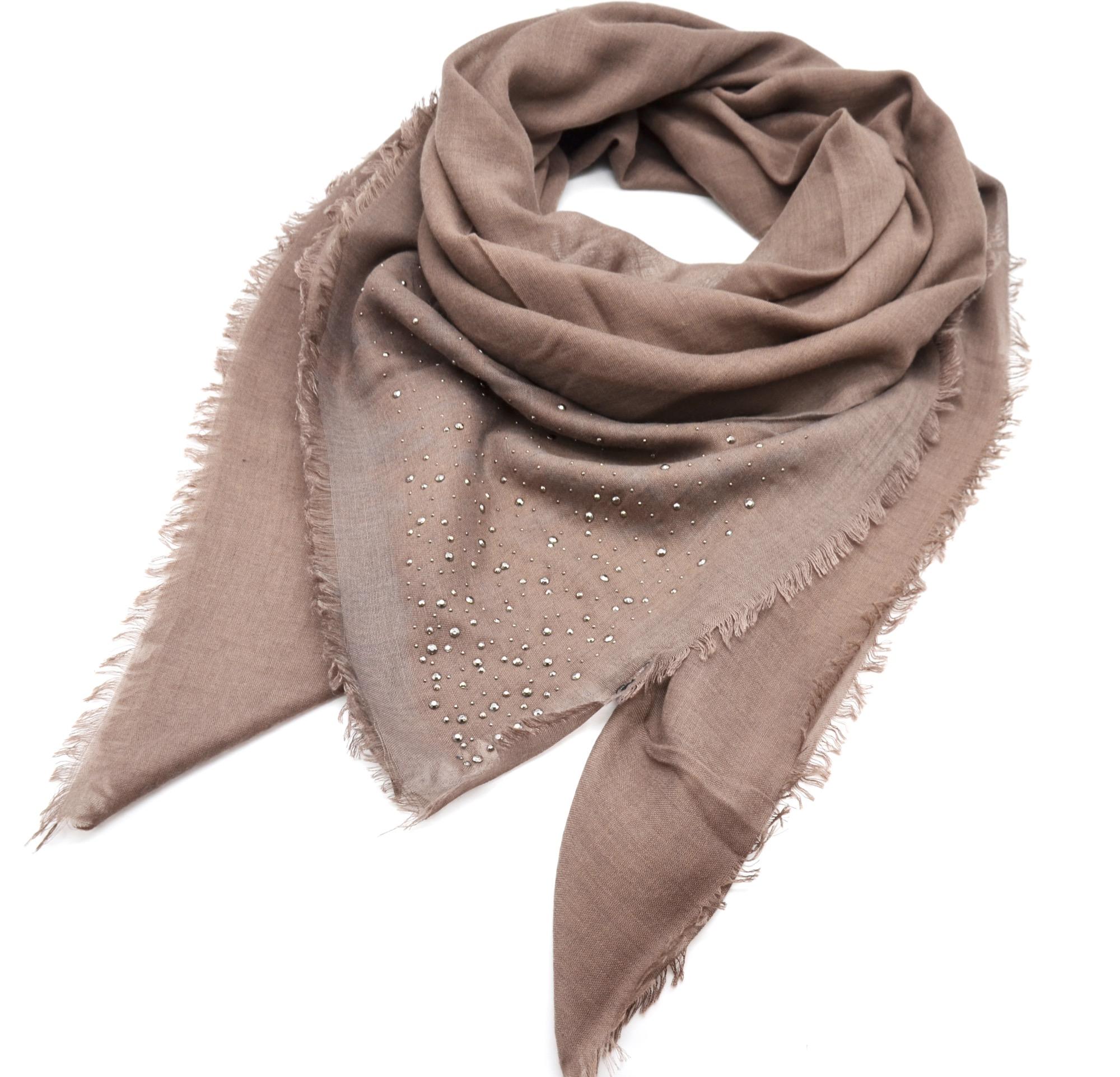 psv122 foulard carr automne hiver uni orn de clous avec contour franges mode femme taupe. Black Bedroom Furniture Sets. Home Design Ideas