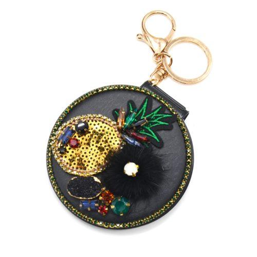 Porte-Cles-Bijou-de-Sac-Miroir-de-Poche-Simili-Cuir-Noir-avec-Ananas-Pompon-et-Pierres-Multicolore