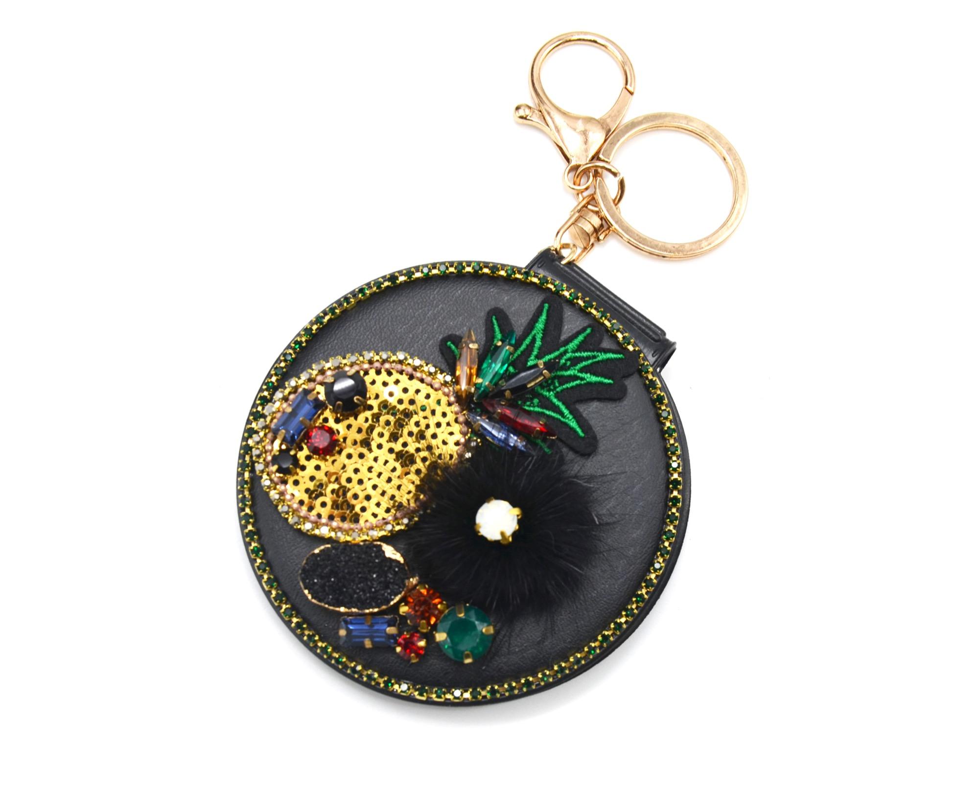 Pt1261f porte cl s bijou de sac miroir de poche - Miroir avec porte bijoux ...
