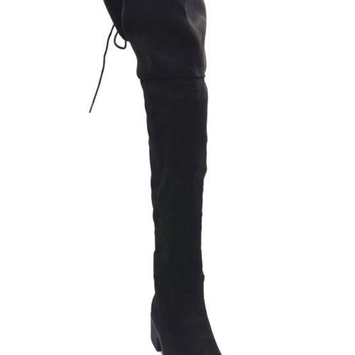 Cuissardes-Bottes-Longues-Effet-Daim-Uni-Noir-avec-Petit-Talon-Carre-et-Lacet