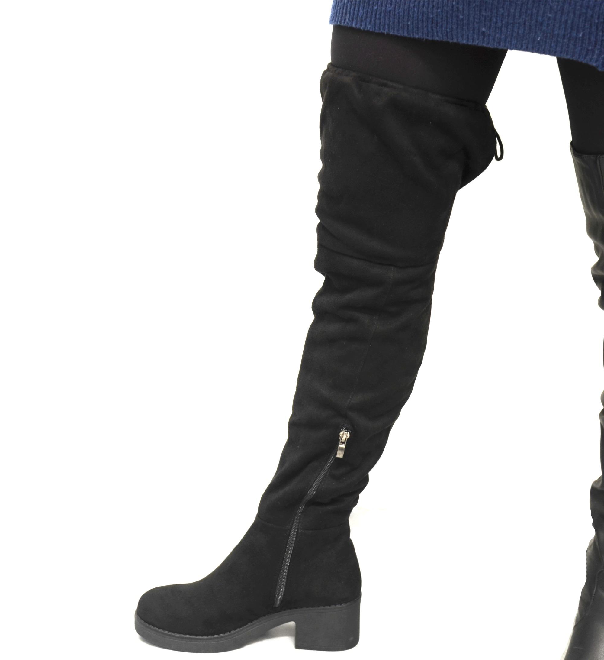 shf80 * cuissardes bottes longues effet daim uni avec petit talon