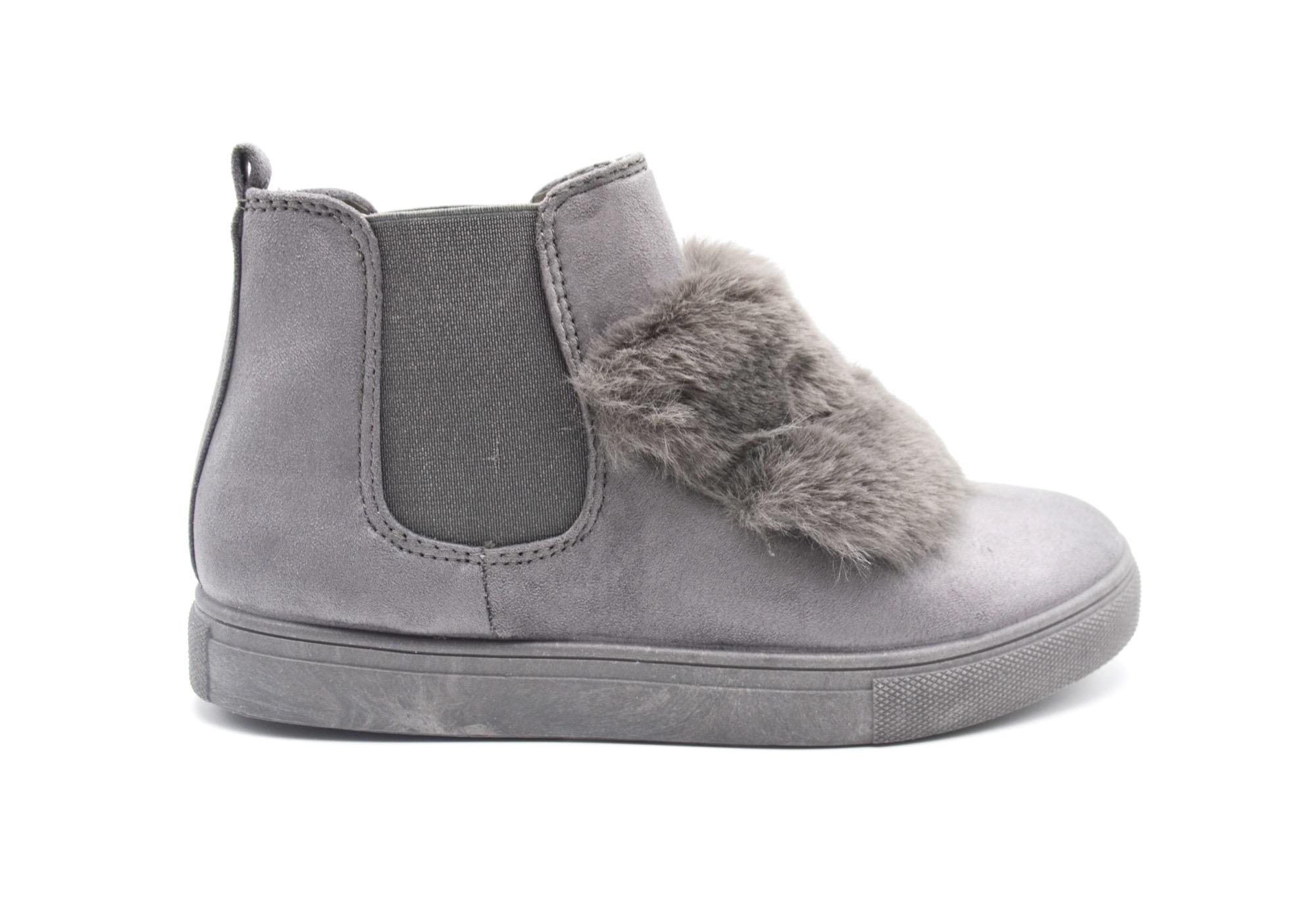 nice shoes great look new arrival SHY41 * Baskets Montantes Sneakers Effet Daim Uni avec Bandes Fourrure et  Tissu Elastique (Gris)