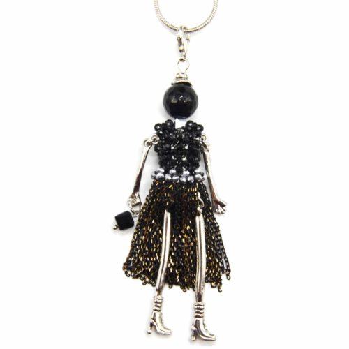 Sautoir-Collier-Pendentif-Poupee-Robe-Perles-et-Chaines-Metal-Noir