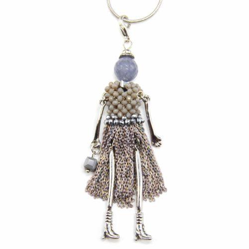 Sautoir-Collier-Pendentif-Poupee-Robe-Perles-et-Chaines-Metal-Gris