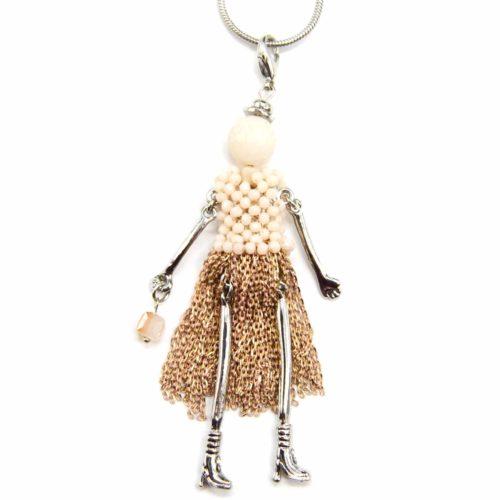 Sautoir-Collier-Pendentif-Poupee-Robe-Perles-et-Chaines-Metal-Beige