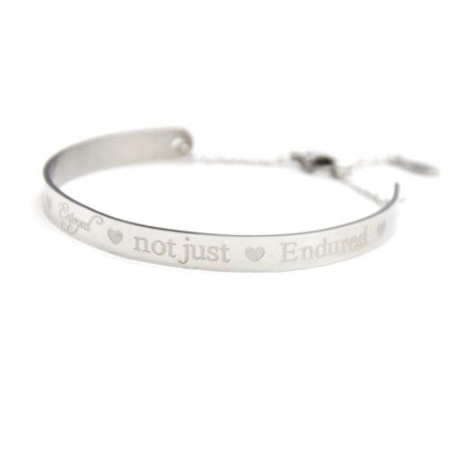 BC1214Fb Bracelet Jonc Acier Argenté avec Message La Vie en Rose
