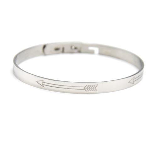 Bracelet-Jonc-Acier-Argente-avec-Motif-Fleches-Ethnique-et-Fermoir-Type-Serrure