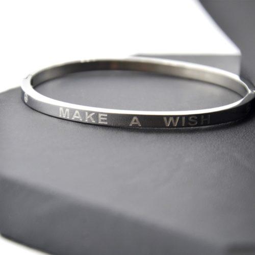 BC1995D Bracelet Jonc Acier Doré avec Message Make A Wish