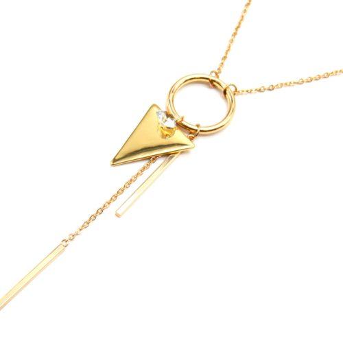Sautoir-Collier-Pendentif-Cercle-Ouvert-avec-Pierre-Zirconium-Triangle-et-Barres-Metal-Dore