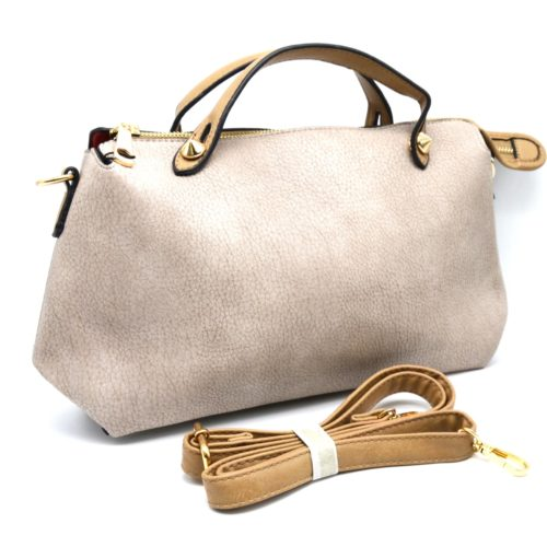 Petit-Sac-a-Main-Rectangle-Pointu-Simili-Cuir-Graine-Bicolore-Gris-Clair