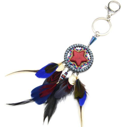 Porte-Cles-Bijou-de-Sac-Etoile-Pierre-Rouge-avec-Perles-et-Plumes-Multicolore