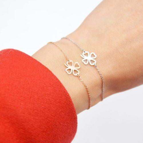 Bracelet-Fine-Chaine-avec-Charm-Trefle-Porte-Bonheur-Contour-Acier