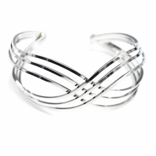 Bracelet-Manchette-Ouverte-Triple-Barres-Croisees-Metal-Argente