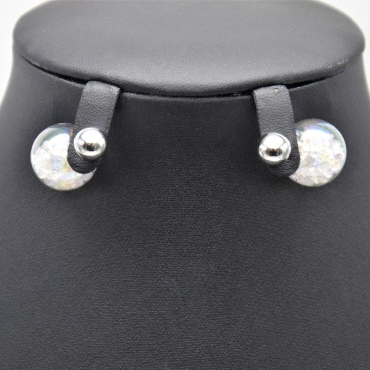 Boucles-dOreilles-Double-Mode-Boule-Metal-Argente-et-Verre-avec-Cristaux-Blanc
