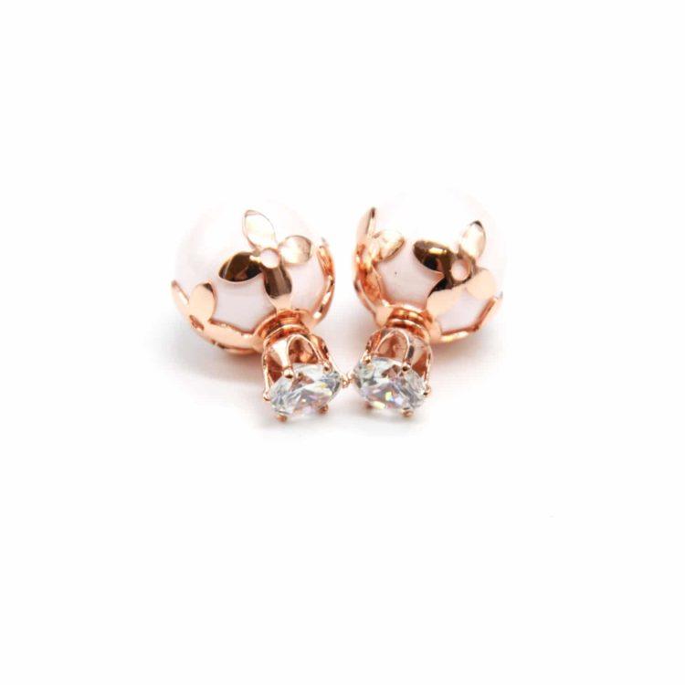 Boucles-dOreilles-Double-Mode-Pierre-Coupole-Fleurs-Metal-Or-Rose-et-Perle-Nacree-Rose