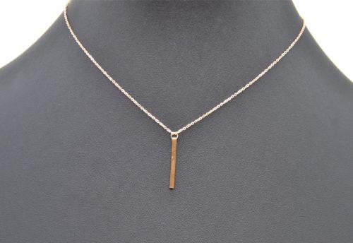 Collier-Fine-Chaine-Pendentif-Barre-Rectangle-Acier-Or-Rose