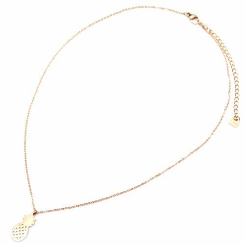 Collier-Fine-Chaine-Pendentif-Ananas-Ajoure-Acier-Or-Rose