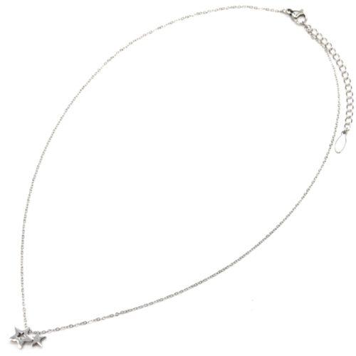 Collier-Fine-Chaine-Pendentif-Double-Mini-Etoiles-Acier-Argente