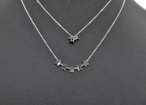 Combo-Colliers-Fine-Chaine-Pendentif-Double-Etoile-et-Multi-Etoiles-Acier-Argente