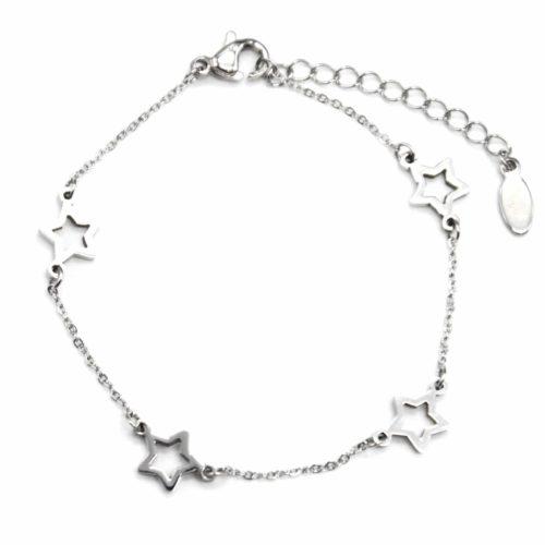 Bracelet-Fine-Chaine-avec-Charms-Etoiles-Acier-Argente