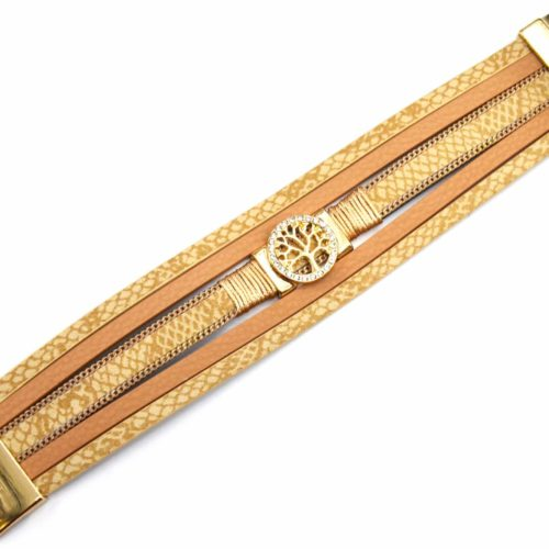 Bracelet-Manchette-Multi-Rangs-Ecailles-Python-Simili-Cuir-Beige-avec-Charm-Arbre-de-Vie-Strass
