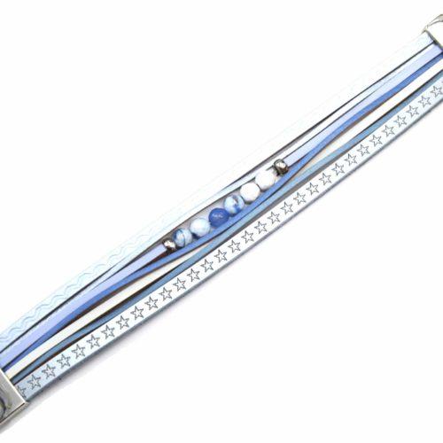 Bracelet-Manchette-Multi-Rangs-Cuir-Motif-Etoiles-Bleu-avec-Pierres
