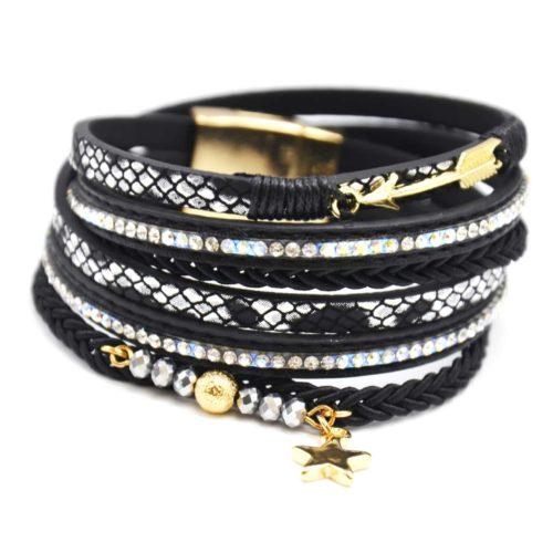 Bracelet-Double-Tour-Multi-Rangs-Noir-Ecailles-Strass-avec-Charms-Fleche-Etoile-et-Perles