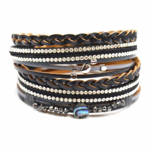 Bracelet-Double-Tour-Multi-Rangs-Cuir-Tresse-Noir-avec-Strass-et-Perles