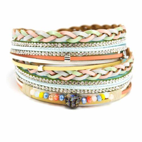 Bracelet-Double-Tour-Multi-Rangs-Cuir-Tresse-Multicolore-avec-Strass-et-Perles