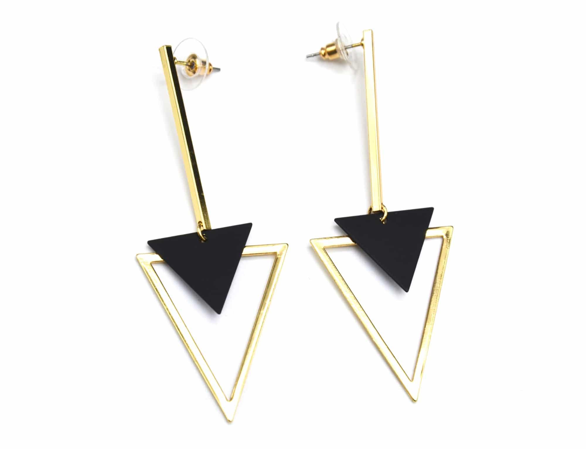 8e06bdad7 BO847E – Boucles d'Oreilles Pendantes Double Triangles Inversés Métal Doré  / Noir