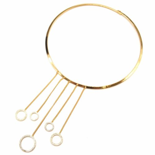 Collier-Fine-Torque-avec-Multi-Chaines-Metal-Dore-et-Cercles-Strass