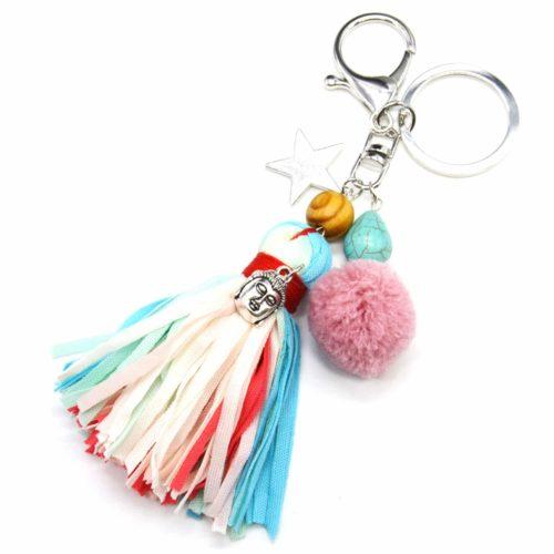 Porte-Cles-Bijou-de-Sac-Franges-Tissu-avec-Etoile-Bouddha-Pompon-Multicolore