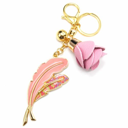 Porte-Cles-Bijou-de-Sac-Plumes-Metal-Peint-Rose-Motif-Liberty-avec-Fleur-Simili-Cuir