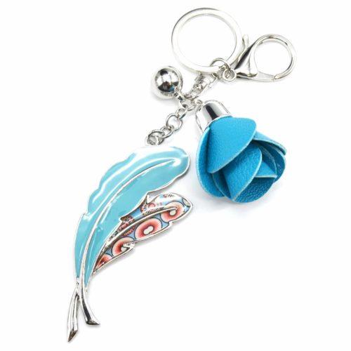 Porte-Cles-Bijou-de-Sac-Plumes-Metal-Peint-Bleu-Motif-Liberty-avec-Fleur-Simili-Cuir