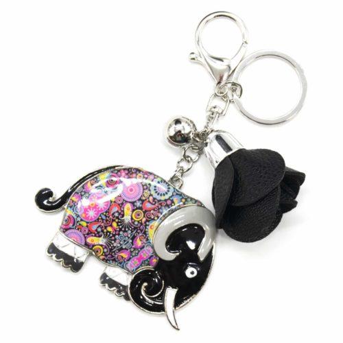 Porte-Cles-Bijou-de-Sac-Elephant-Metal-Peint-Noir-Motif-Liberty-avec-Fleur-Simili-Cuir