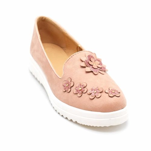 Mocassins-Slippers-Effet-Daim-Rose-avec-Multi-Fleurs-Paillettes-et-Semelle-Compensee-Blanche