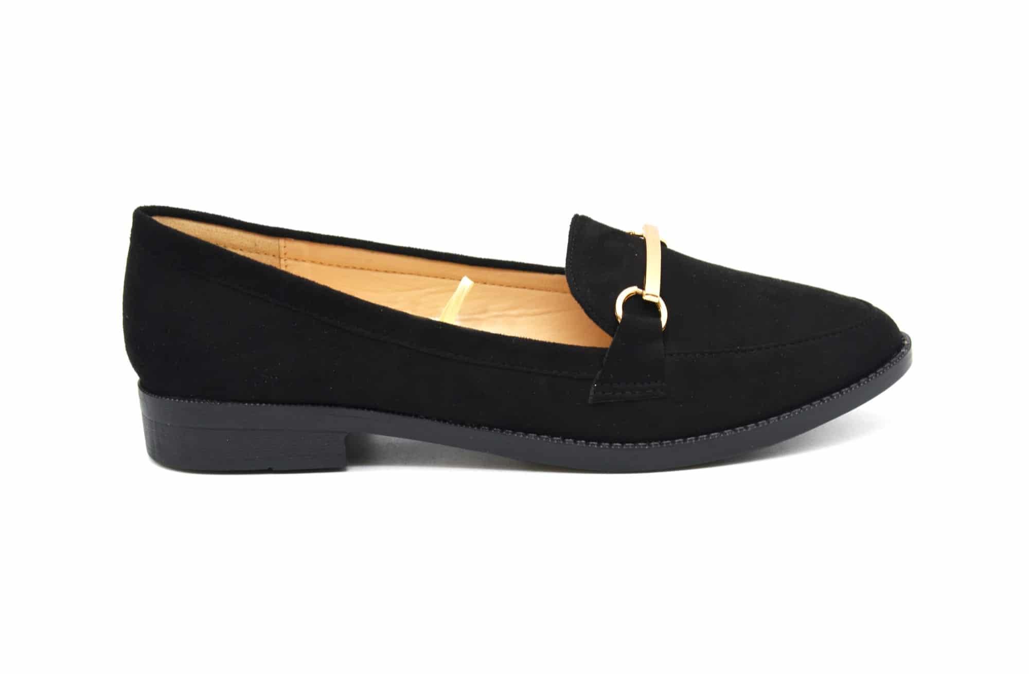 shp106 mocassins slippers effet daim noir avec barre m tal dor et petit talon oh my shop. Black Bedroom Furniture Sets. Home Design Ideas