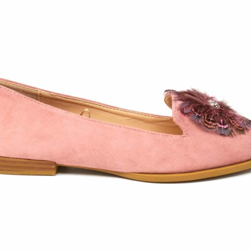 Mocassins-Slippers-Effet-Daim-Rose-avec-Multi-Plumes-Paon-Pierres-et-Petit-Talon