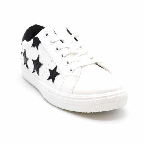 Baskets-Tennis-Sneakers-Simili-Cuir-Blanc-avec-Patchs-Etoiles-et-Bout-Arriere-Tissu-Brillant-Noir