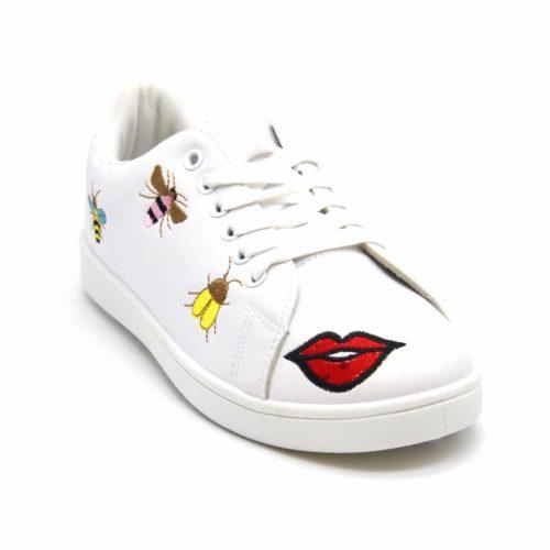 Baskets-Tennis-Sneakers-Simili-Cuir-avec-Patchs-Bouche-Abeilles-Multicolore-et-Bout-Arriere-Perfore-Blanc