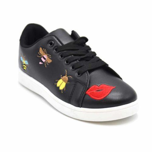 Baskets-Tennis-Sneakers-Simili-Cuir-avec-Patchs-Bouche-Abeilles-Multicolore-et-Bout-Arriere-Perfore-Noir