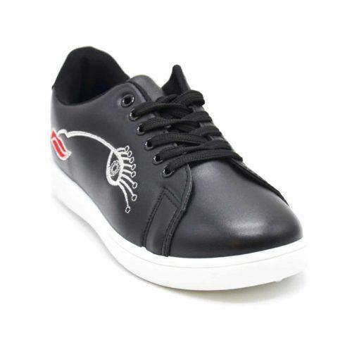Baskets-Tennis-Sneakers-Simili-Cuir-avec-Broderie-Oeil-Cils-Bouche-et-Bout-Arriere-Perfore-Noir