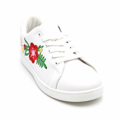 Baskets-Tennis-Sneakers-Simili-Cuir-avec-Broderie-Fleurs-et-Bout-Arriere-Perfore-Blanc